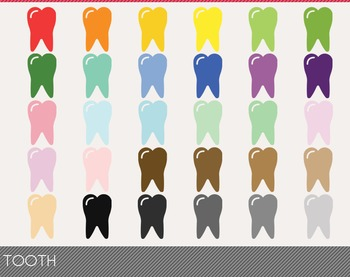 Tooth Digital Clipart, Tooth Graphics, Tooth PNG, Rainbow Tooth Digital Files