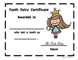 Tooth Fairy Certificate, Lost Tooth Award