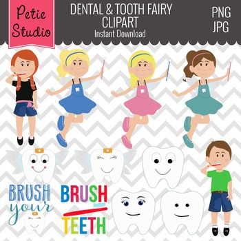 Tooth Fairy Clipart, Dental Clipart, Dentist Clipart, Lost Tooth - EV100