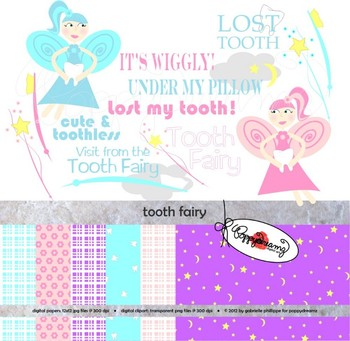 Tooth Fairy Clipart and Digital Papers by Poppydreamz