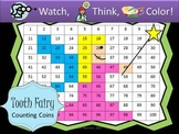 Tooth Fairy Counting Coins Practice - Watch, Think, Color Game!