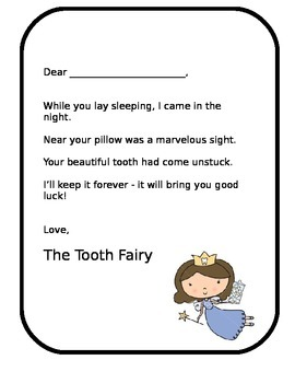 Tooth Fairy Letter Lost Tooth Editable Printable - Ready t