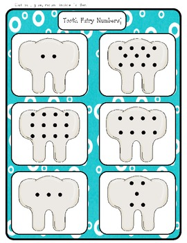 Tooth Fairy Numbers! - Pre-kinder - Kindergarten - File Folder Game