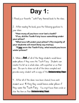 Tooth Fairy Writing: 6 Days of Writing Lesson Plans