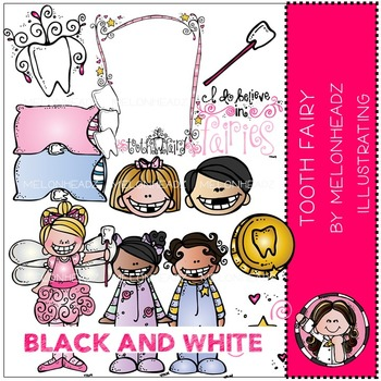 Tooth Fairy clip art - BLACK AND WHITE- by Melonheadz