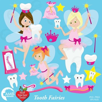 Tooth Fairy Clipart, Tooth Clipart, Teeth Clipart, {Best Teacher Tools} AMB-930