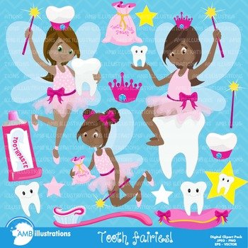 Tooth Fairy clipart, African American, tooth clipart, teeth clipart, AMB-1134