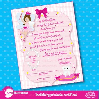 Tooth Fairy clipart, Certificate, teeth clipart, AMB-940
