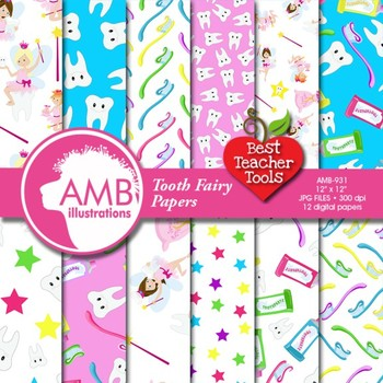 Digital Papers, Tooth Fairy Digital Paper and Backgrounds,  AMB-931