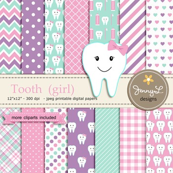 Tooth Girl digital paper and clipart