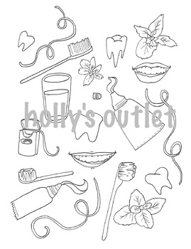 Tooth Health Clipart // Dentist, Doctor, Brushing Teeth, Tooth Care