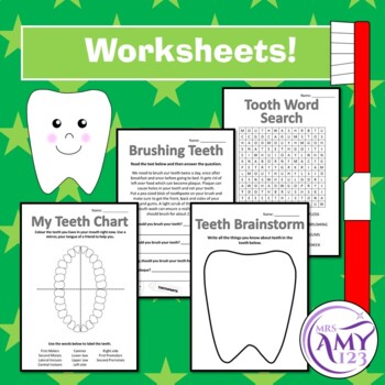 Tooth Package- Lost Teeth Chart, Brushing Teeth Chart, Cards and Worksheets!