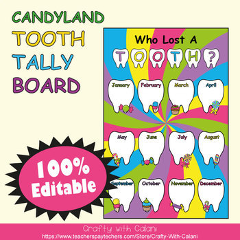 Tooth Tally Board in Candy Land Theme - 100% Editable
