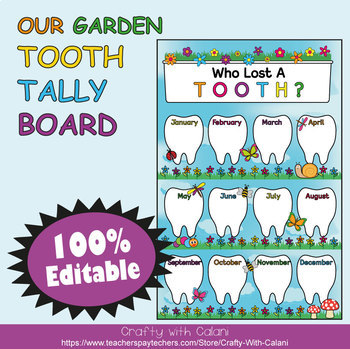 Tooth Tally Board in Flower & Bugs Theme - 100% Editable