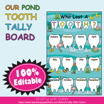 Tooth Tally Board in Our Pond Theme - 100% Editable