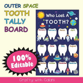 Tooth Tally Board in Outer Space Theme - 100% Editable