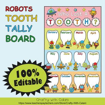 Tooth Tally Board in Robot Theme - 100% Editable