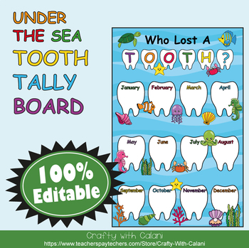 Tooth Tally Board in Under The Sea Theme - 100% Editable