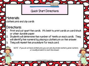 Tooth Totals:  LOW PREP Dental Health Themed Counting Clip Cards