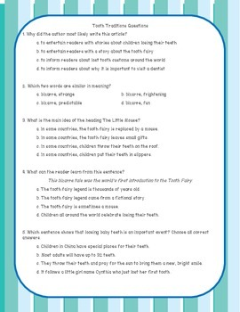 Tooth Traditions from Around the World Reading Comprehension Passage & Questions