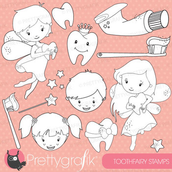 Tooth fairy stamps commercial use, vector graphics, images - DS625
