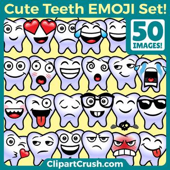 Toothy Emoji Clipart Faces / Cute Tooth Teeth Emojis Emoti