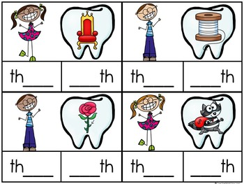 Toothy Kids TH Digraph Clip Cards Word Work Center