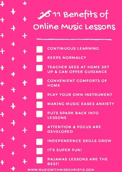 Top 10 Benefits to Online Music Lessons