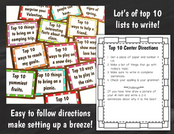 Writing Center Activities: Top 10 List Writing