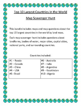 Top 10 largest countries in the world map scavenger hunt tpt top 10 largest countries in the world map scavenger hunt gumiabroncs Images