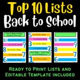 top ten list template teaching resources teachers pay teachers