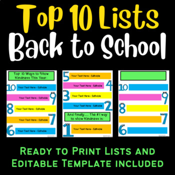 top 10 list back to school edition editable tpt
