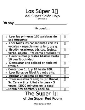 Top 10 List Kindergarten - Tri 2 (Dual Immersion - Spanish