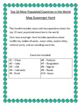 Top 10 Most Populated Countries in the World Map Scavenger Hunt