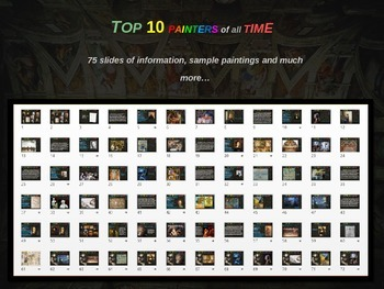 Top 10 Painters of All Time: 75 slides with facts & sample art (handouts, too)