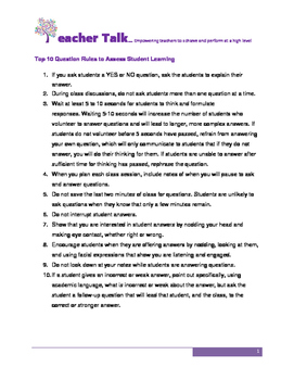 Top 10 Rules for  Assessing Student Learning