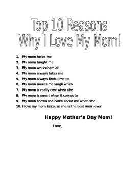 Mother's Day Writing - Top 10 Reasons I love my mom