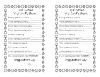 Top 10 Reasons Why I Love You - Happy Mother's Day