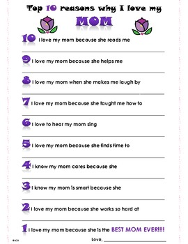 Top 10 Reasons Why I Love my MOM- Happy Mothers Day