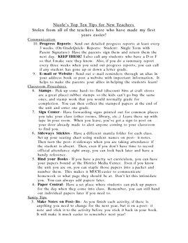 Top 10 Tips for Teachers