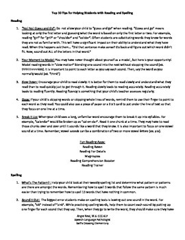 Top 10 Tips for Helping Students With Reading and Spelling