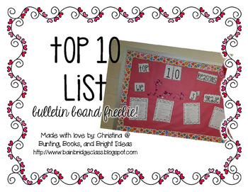 Top 10 Valentine's List Bulletin Board FREEBIE!