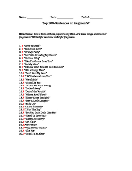 Top 100: Sentence or Fragment