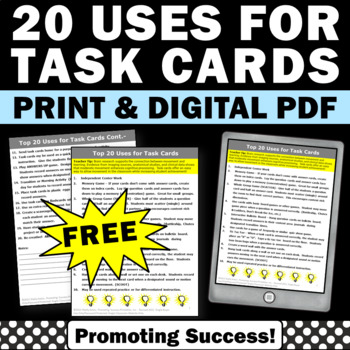 FREE How to Use task Cards in the Classroom, Task Card Games & Ideas