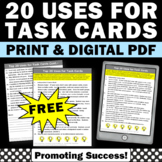 FREE How to Use task Cards in the Classroom, Task Card Gam