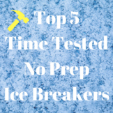 5 No Prep First Day Activity Ice Breakers Jr High School T