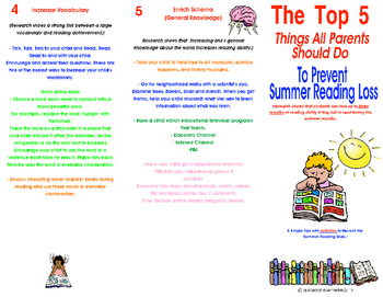 End of Year- Top 5 Tips to Prevent Summer Reading Loss Brochure
