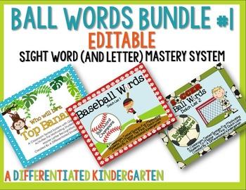 Ball Words Sight Word Mastery System Bundle #1-Editable