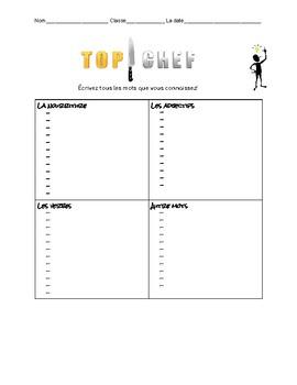 Top Chef France - Emergency FSL 8 Substitute activity - La nourriture
