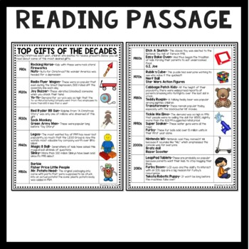 Top Christmas Gifts Over the Decades Reading Comprehension Worksheet